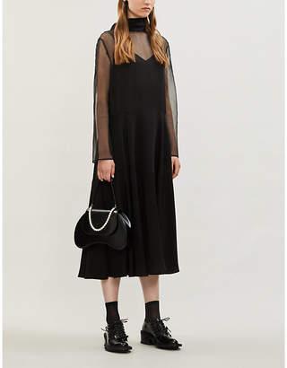 Valentino High-neck panelled silk midi dress