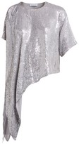 Ashish Sequinned Asymmetric Top - Womens - Silver