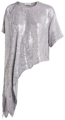 Ashish Sequinned Asymmetric Top - Silver