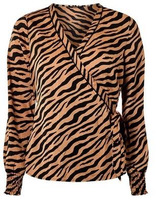 Dorothy Perkins Womens Only Tan Zebra Print Wrap Blouse, Tan