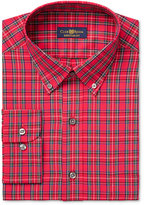 Club Room Men's Estate Classic-Fit Wrinkle Resistant Red Stewart Tartan Dress Shirt, Only at Macy's