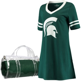 Unbranded Women's Green Michigan State Spartans Football Jersey Night Dress & Mini Duffel Bag Set