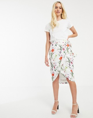 Ted Baker Camiila midi wrap skirt in hedgerow floral-Multi