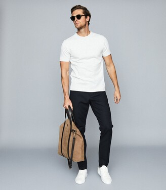 Reiss Putney - Textured Crew Neck T-shirt in Grey Melange