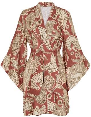 Johanna Ortiz Woodland Tribes printed linen kimono