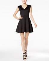 Bar III V-Neck Fit & Flare Scuba Dress, Only at Macy's