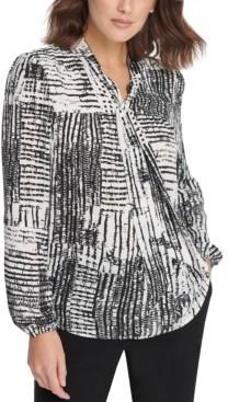 DKNY Petite Tie-Neck Twist Collar Blouse