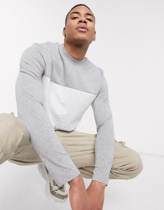 Asos Design DESIGN long sleeve t-shirt with contrast panel in gray marl