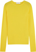 Carven Pointelle-trimmed Ribbed Wool Sweater - Bright yellow
