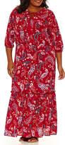 Boutique + + Tie Neck 3/4 Sleeve Maxi Dress-Plus