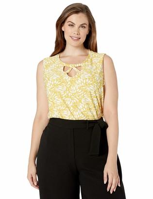 Kasper Women's Petite Sleeveless Skinny Criss Cross Sunburst Floral Printed ITY