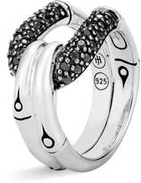 John Hardy Sterling Silver Bamboo Ring with Black Sapphire and Black Spinel