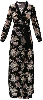 Myla Hyde Park Floral Velvet Devore Robe - Black Multi