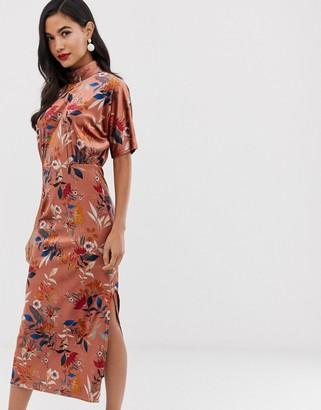 Closet London high neck batwing sleeve midaxi dress in velvet floral print