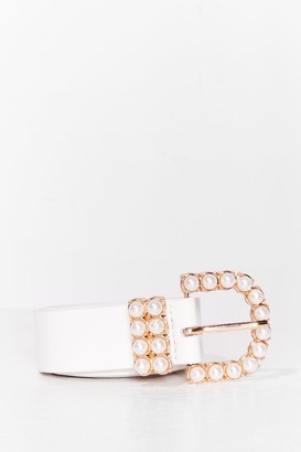 Nasty Gal Womens Hot Pearl Summer Faux Leather Belt - White