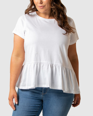 Forever New Curve - Women's Short Sleeve Tops - Chantelle Curve Short Sleeve Smock Tee - Size One Size, 16 at The Iconic