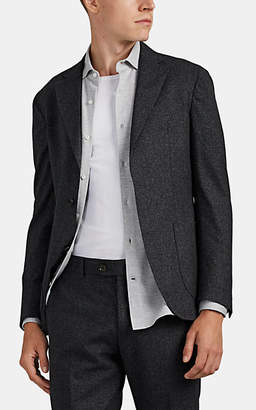 Eleventy Men's Mélange Wool-Cotton Two-Button Sportcoat - Medium Gray