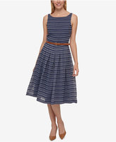Tommy Hilfiger Belted Shadow-Stripe Dress, Created for Macy's