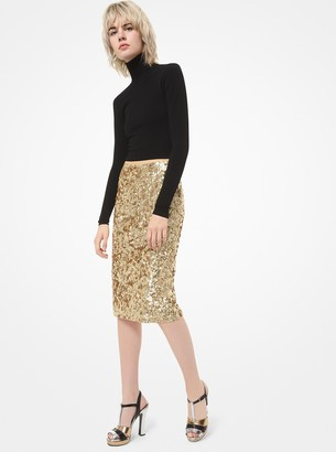 Michael Kors Collection Sequined Stretch-Tulle Pencil Skirt