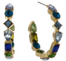 Christian Siriano New York Gold Tone Crystal Hoop Earrings