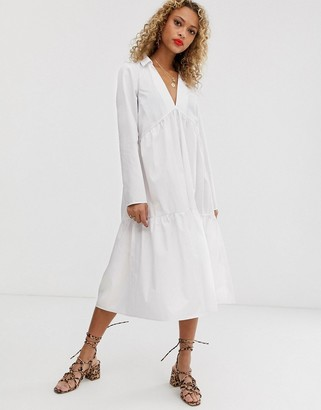 Asos Design DESIGN tiered collared cotton smock midi dress with long sleeves-White