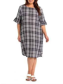 Yarra Trail Woman Pleat Sleeve Check Linen Dress