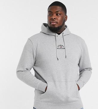 Tommy Hilfiger Big & Tall chest embroidered logo hoodie in medium grey heather