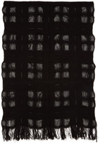 Yohji Yamamoto Black Bouclé Check Stole Scarf