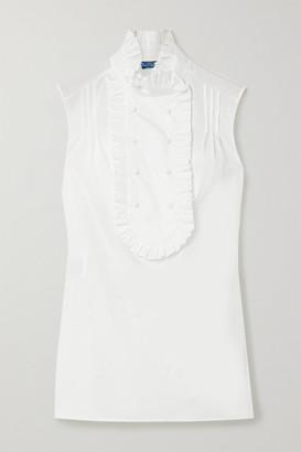 Prada Ruffled Cotton-poplin Blouse - White