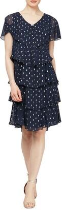 SL Fashions Polka Dot Tiered Georgette Dress