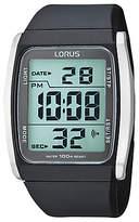 Lorus R2303hx9 Stainless Steel Digital Resin Strap Watch, Black/grey