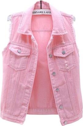 Lazutom Women's Button Up Sleeveless Distressed Jean Denim Vest Jacket Waistcoat (UK 10