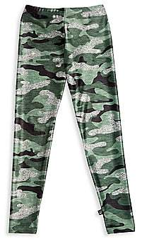 Terez Little Girl's & Girl's Glitter Print Camo Leggings