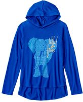 Mudd Girls 7-16 Supersoft Plush Foil Graphic High-Low Hooded Tee