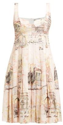 Emilia Wickstead Claretta Italy-print Pleated Linen Dress - Womens - Pink Print