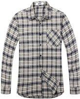 OCHENTA Men's Long Sleeve Casual Plaid Flannel Shirt