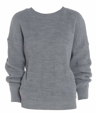 ZEE FASHION Ladies New Plain Chunky Knit Loose Baggy Oversized Jumper Tops Womens Long Sleeve Knitted Sweater Top Grey