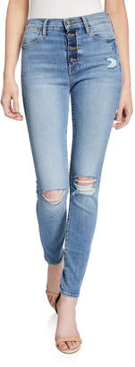 Frame Le High Skinny Distressed Jeans w/ Button Fly