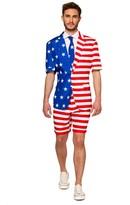 Men's Suitmeister American Flag Summer Suit & Tie Set