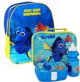 Disney PIXAR Finding Dory Nemo Official Kids Children School Travel Rucksack Backpack Bag, Lunchbag Lunch Bag Case with Sandwich Box and Drinking Bottle Set for Kids Children