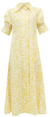 Thierry Colson Tifenn Wide-collar Abstract-print Cotton Dress - Womens - Yellow