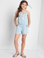 Gap Embroidery tassel denim romper