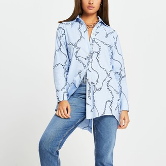 River Island Womens Blue stripe chain print tie back shirt