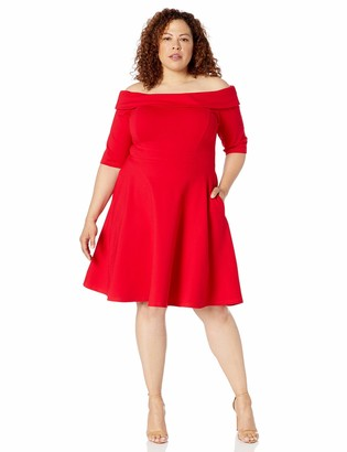 City Chic Women's Apparel Women's Plus-Size Fit and Flare Party Dress with Boat Neckline Dress