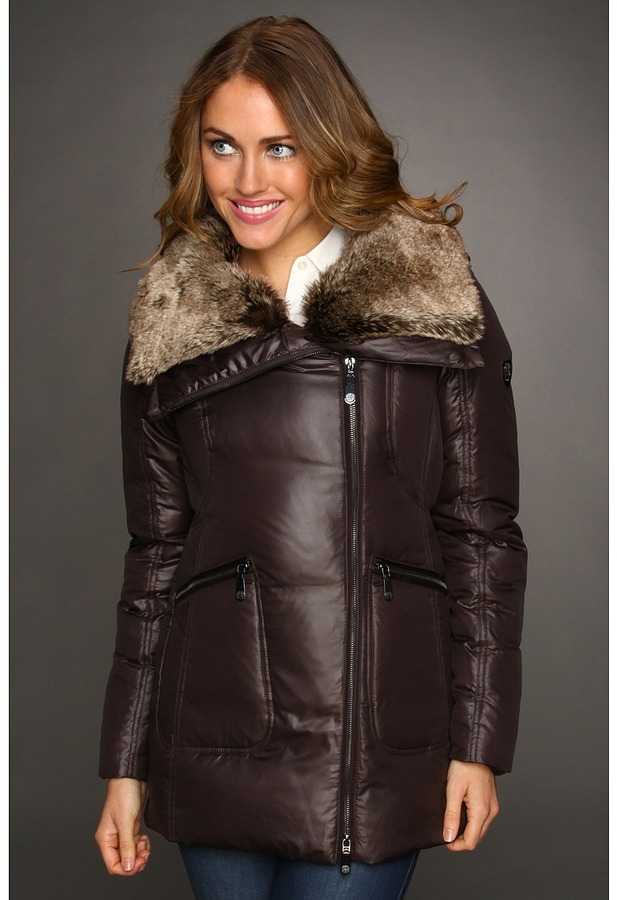 Vince Camuto Faux Fur Trim Asymmetrical Cire Jacket (Brown Cire) - Apparel