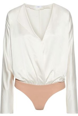 Alix Calder Wrap-effect Silk-charmeuse And Stretch-jersey Bodysuit