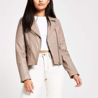 River Island Womens Light Brown leather biker jacket