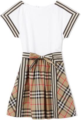 BURBERRY KIDS Vintage check bow dress