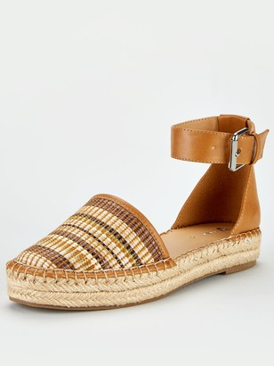 Very Maegan 2 Part Ankle Strap Flat Espadrilles - Tan