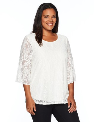 Star Vixen Women's Plus-Size Stretch Bell-Sleeve Keyhole Back Cutout Top-Lined